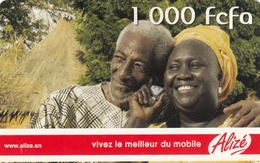 SENEGAL - Alizé - Mobile Refill , Two Happy People With Mobile, 1,000 CFA, Used - Senegal