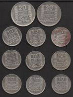 Lot De Monnaies Française. Argent . TURIN .2 F(2). & 1F(9). 130 Gr. Environ . Différentes Années . - Non Classés