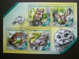 Owls. Eulen. Les Hiboux # Niger # 2014 Used S/s # Birds Vögel Des Oiseaux - Owls