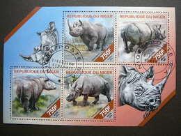 Rhinoceros. Nashörner # Niger # 2014 Used S/s # Rhino  Mammals - Rhinozerosse