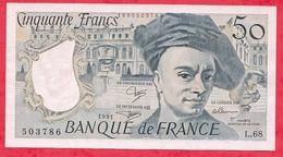 """50 Francs """"Quentin  De La Tour"""" 1991 Série  L.68---- AU UNC-SPL+ (Aucun Trou D 'épingle) - 1962-1997 ''Francs''"""