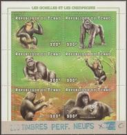 Tchad 1998 Y&T 937/42 Michel 1697 à 1702. Perforés Annulés Sur Carton. Gorilles Et Chimpanzés - Gorilles