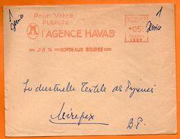 BORDEAUX  L' AGENCE HAVAS   1954 Lettre Entière N° EMA Z 325 - Marcofilia (sobres)