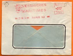 PARIS   MESSAGERIES MARITIMES   1954 Lettre Entière N° EMA Z 326 - Marcofilia (sobres)