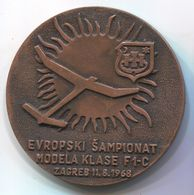 Airplane / Airlines, Plane Flug, Aviation - EUROPEAN CHAMPIONSHIP 1968. ZAGREB CROATIA, Modelling, Bronze Medal - Tokens & Medals
