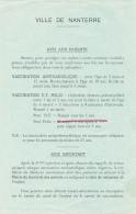 Ville De Nanterre (1962) : Avis Aux Parents, Vaccination Antivariolique, Vaccination D.F. Polio, Information Vaccins - Old Paper