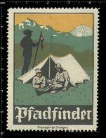 German Poster Stamp, Reklamemarke, Cinderella, Scout, Erkunden, Pfadfinder, Scout Posing, Erkunden Posierend. - Scouting