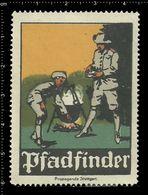 German Poster Stamp, Reklamemarke, Cinderella, Scout, Erkunden, Pfadfinder, Scout Posing, Erkunden Posierend. - Scoutismo