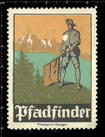 German Poster Stamp, Reklamemarke, Cinderella, Scout, Erkunden, Pfadfinder, Scout Posing, Erkunden Posierend. - Pfadfinder-Bewegung