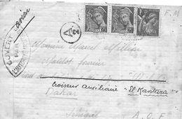 """Lettre Pour Le Croiseur Auxiliaire """"El Kantara"""" à Dakar Avec Censure - Marcofilia (sobres)"""