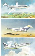 DELTA AIRLINES - 3-Bild-Karte Paintings DC-9 / B727 / L-1011 (Airline Issue) XXL-Card - 1946-....: Moderne