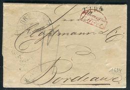 Allemagne - Lettre De Bremen Pour La France En 1834 , Marque D 'entrée En France Par Givet - Ref F78 - Postmark Collection (Covers)