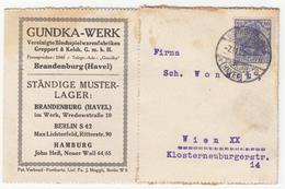 Germany, Gundka-Werk Company Postcard Postkarte Travelled 1921 Brandenburg An Der Havel Pmk B180210 - Deutschland