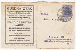 Germany, Gundka-Werk Company Postcard Postkarte Travelled 1921 Brandenburg An Der Havel Pmk B180210 - Briefe U. Dokumente