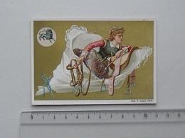 CHROMO Doré Série SIGNE DU ZODIAQUE = LION Astrologie Femme Jockey - Lith. APPEL - A St-JOSEPH à LYON - Chromos