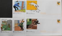 5 Enveloppes Illustrées Prêts-à-poster TINTIN - Envoi Lettre Prioritaire 20gr Validité Monde Entier - Neuves - Entiers Postaux