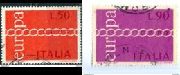 ITALIA, ITALY, COMMEMORATIVO, EUROPA UNITA, CEPT, 1971, FRANCOBOLLO USATO      Sass. 1147,1148   Scott 1038,1039 - 6. 1946-.. Repubblica