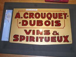 VERVIERS - A CROUQUET DUBOIS - VINS ET SPIRITUEUX - Publicité Peinte Sur Verre 24/38cm - Alcohols