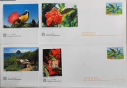 4 Enveloppes Illustrées Prêts-à-poster Colibri à Tête Bleue - Envoi Lettre Prioritaire 20gr Validité Monde Entier - Ganzsachen