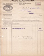 FIAT L'AUTO-LOCOMOTION Rue De L'Amazone Bruxelles 1922-1924 Facture Clef De Verrouillage - Cars