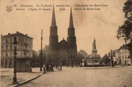 BELGIQUE - ANVERS - ANTWERPEN - L'Eglise St-Joseph Et La Statue Du Baron Loos - De St-Jozef's Kerk En Het Standbeel .... - Antwerpen