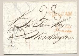 Nederland - 1828 - Vouwbrief Van Amsterdam (met Sterren) FRANCO GRENZEN Naar Nordlingen / Deutschland - Niederlande