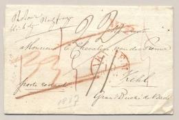 Nederland - 1837 - Omslag Van Arnhem Naar Kehl / Baden - Veel Geschreven Portaanduidingen - Niederlande