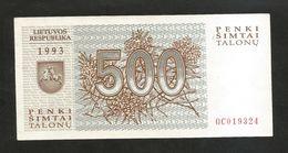 LATVIA / LITUANIA - 500 TALONU (1993) - Lituanie