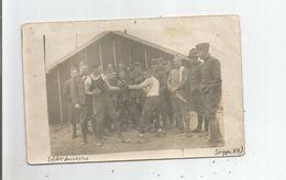 SUIPPES (MARNE) BELLE CARTE PHOTO AVEC MILITAIRES AMERICAINS DU 17 4 1918 (PARTIE DE BOXE) - Guerre 1914-18