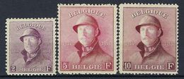 Belgique, N° 176 à 178 * TB Roi Albert Casqué - 1919-1920 Trench Helmet