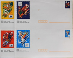 4 Enveloppes Illustrées Prêts-à-poster France 98 N° 3074 à 3077 - Envoi Lettre Prioritaire 20gr Validité Monde Entier - Ganzsachen
