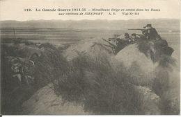 ARMEE BELGE -  MITRAILLEUSE IN DE DUINEN - NIEUWPOORT - War 1914-18