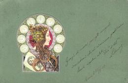 [DC11541] CPA - ILLUSTRATEURS ART DECO - STYLE MUCHA - IN RILEVO - Viaggiata 1902 - Old Postcard - Illustratori & Fotografie