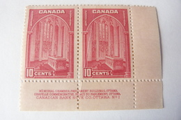 CANADA- Bande De Deux Timbres Neufs ** 1938 Mémorial Chamber #241a Carmine Rose MNH Avec Légende - 1937-1952 George VI