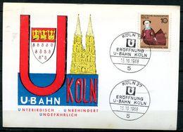 "Germany 1968 Sonderkarte U-Bahn,Köln Mit Berlin Mi.Nr.322 Und SST""5 Köln-Eröffnung U-Bahn,Metro""1 Beleg - Uhrmacherei"