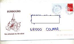 Pap Liberte Cachet Surbourg Illustré Abbatiale - Entiers Postaux
