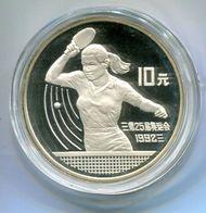 6718 - CHINA - Silbermünze 10 Yuan, Motiv Olympia Tischtennis -- Silver Coin Olympics Table Tennis - China
