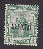 Trinidad And Tobago, Scott #O2, Mint Hinged, Britannia Overprinted, Issued 1914 - Trinidad & Tobago (...-1961)