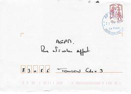 Oblitération Bleu AP SPID:Timbre De Carnet Marianne De Ciappa. - Marcophilie (Lettres)