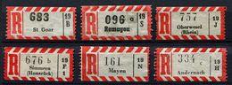 (1787) R-Zettel Aus St. Goar, Remagen, Oberwesel, Simmern, Mayen, Andernach, Alle Mit AKZ - R- & V- Labels