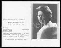 Doodsprentje / Bidprentje / Avis De Décès / Mortuaire / Dokter / Mariet Hacquaert / X Dierick / 1989 / 2 Scans - Décès