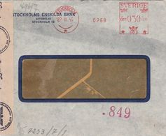 Suède EMA Stockholm Sur Lettre Censurée 1945 - 1930- ... Franqueo II