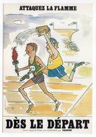 """PARIS 13ème--carte Publicitaire""""DRAWING Sarl,113 Rue Bobillot""""--illustrateur Jean Geoffroy-athlète-flamme- - Arrondissement: 13"""