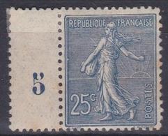France 1903 - N°132*- Millésime 5 - 1903-60 Sower - Ligned