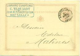 Briefkaart - Carte Correspondance Nr 3 - Afz. Librairie Européenne G. Muquardt Henri Merzbach Editeur à Bruxelles 1874 - Imprimerie & Papeterie