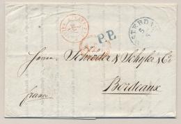 Nederland - 1840 - Compleet Vouwbriefje PP Van Amsterdam Naar Bordeaux / France - ...-1852 Voorlopers