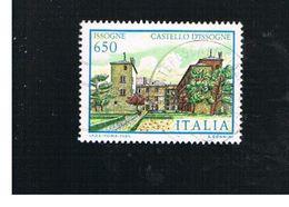 ITALIA REPUBBLICA  - SASS. 1785  -      1986   VILLE D' ITALIA: ISSOGNE  -      USATO - 1946-.. République
