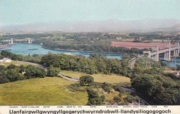 Postcard The Menai Straites And Bridges With Llanfair PG Caption North Wales My Ref  B11907 - Anglesey