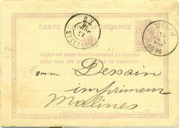 Briefkaart - Carte Correspondance Nr 6 Exp. Imprimerie, Librairie ....Vanhee-Dhaleweyn Et Fils à Menin 1876 - Imprimerie & Papeterie