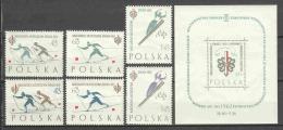 Poland 1962 Mi 1294-1299 + Block 26 MNH WINTER SPORTS - Unused Stamps